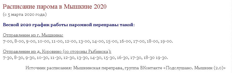 Расписание парома в Мышкине