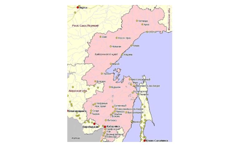 Хабаровский край на карте
