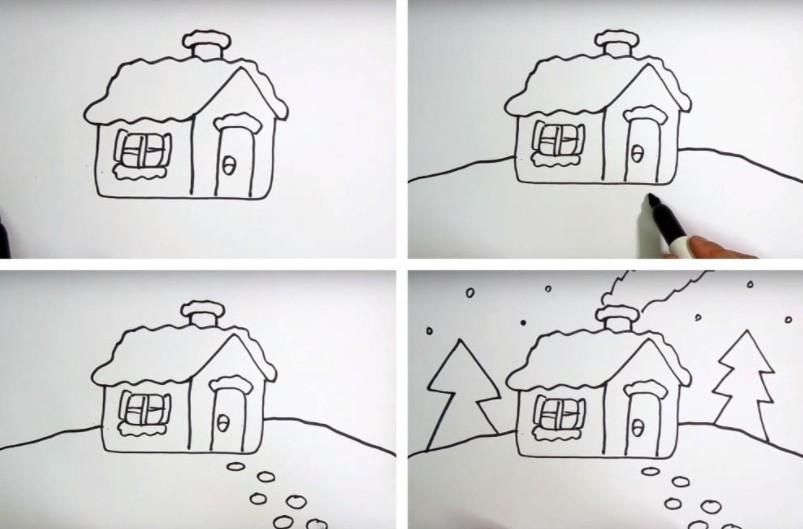 Как нарисовать ребенку избушку