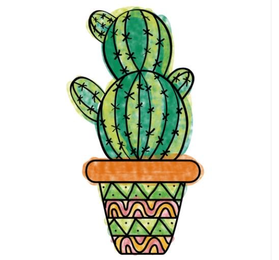 кактус для срисовки в горшке