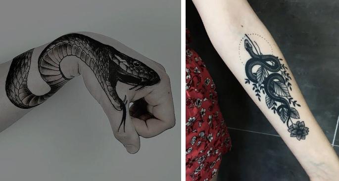 Что означает татуировка змеи. Татуировка змея на руке, на ноге, эскизы