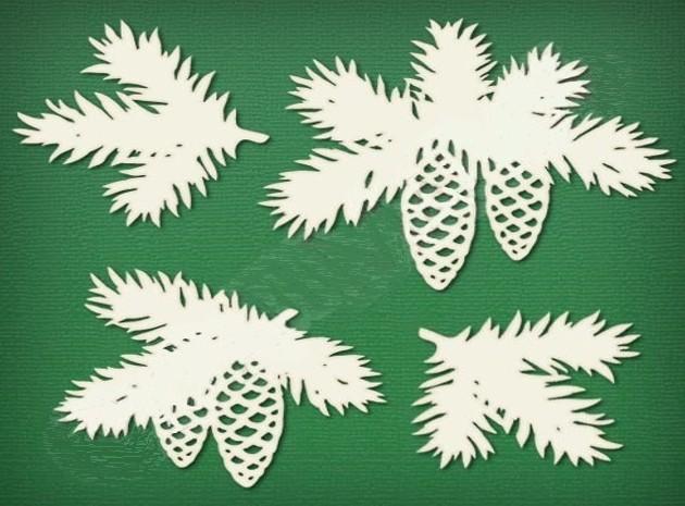Вытынанки еловые ветки распечатать