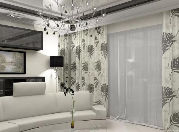 Шторы для гостиной, современные тенденции. Серые шторы в гостиную.