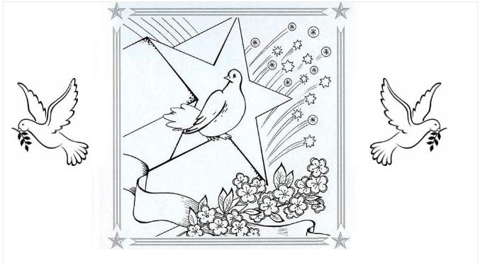 Раскраски 9 мая детям для распечатки. Рисунки танк, самолет, солдат, георгиевская ленточка, открытки.